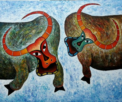 Vu Dinh Son, Cow Fighting, Oil on canvas, 90x110cm, date 2017
