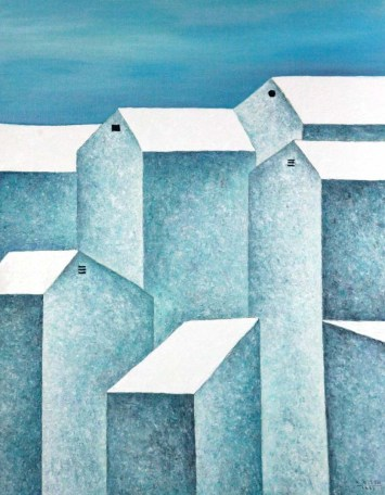 Houses, Oil on canvas, 100cm x 95cm, Date2015, Private Collection