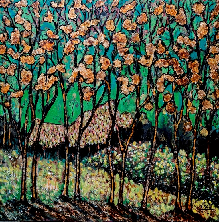 Vu Dinh Son, Blossom Season, Lacquer on wood, 50x50cm, Date May2018, Price US$ 700