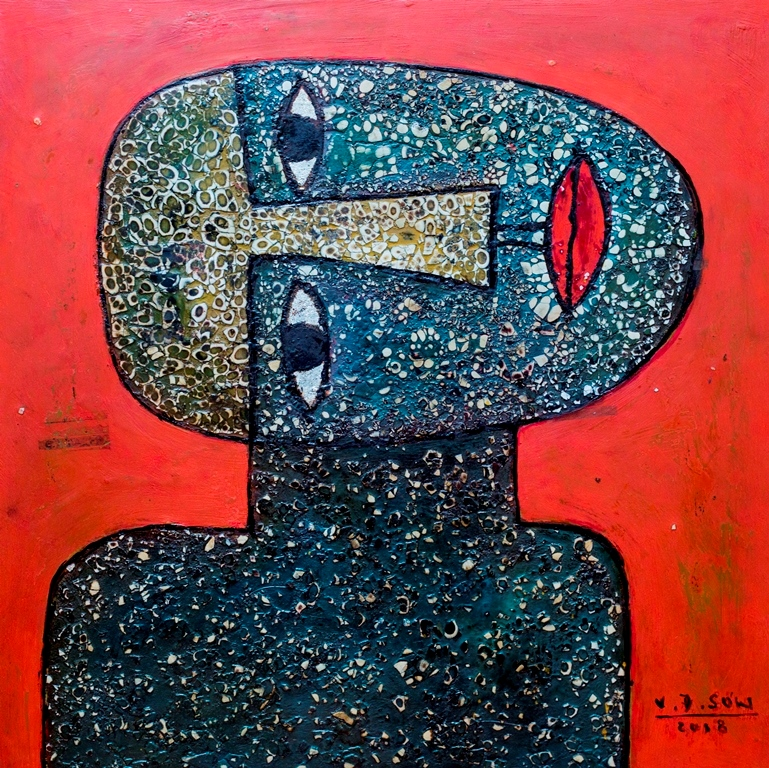 Vu Dinh Son, Portrait, Lacquer on wood, 40x40cm, date May2018, Price US $ 400