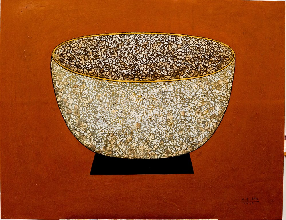 Vu Dinh Son, Red Bowl, Lacquer on wood, 70x90cm, DateMay2018