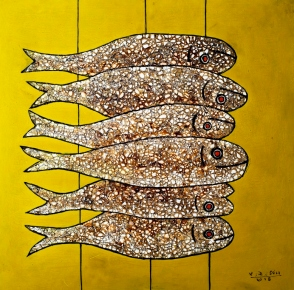 Vu Dinh Son, Fish, Lacquer on wood, 50x50cm, Date July2018