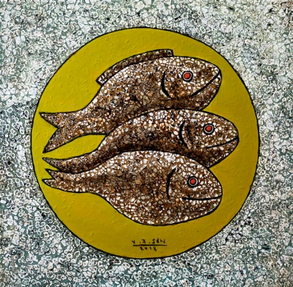 Vu Dinh Son, Golden Fish, Lacquer on wood, 50x50cm, Date July2018
