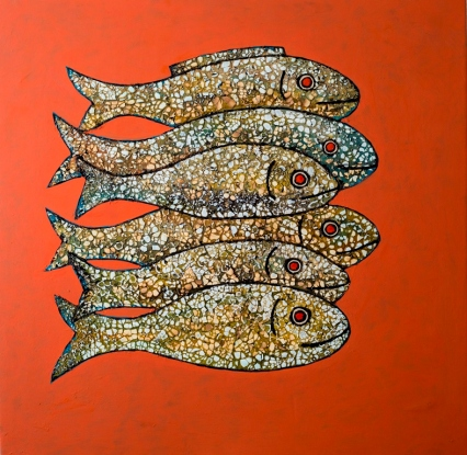 Vu Dinh Son, Red Fish, Lacquer on wood, 50x50cm, Date July2018