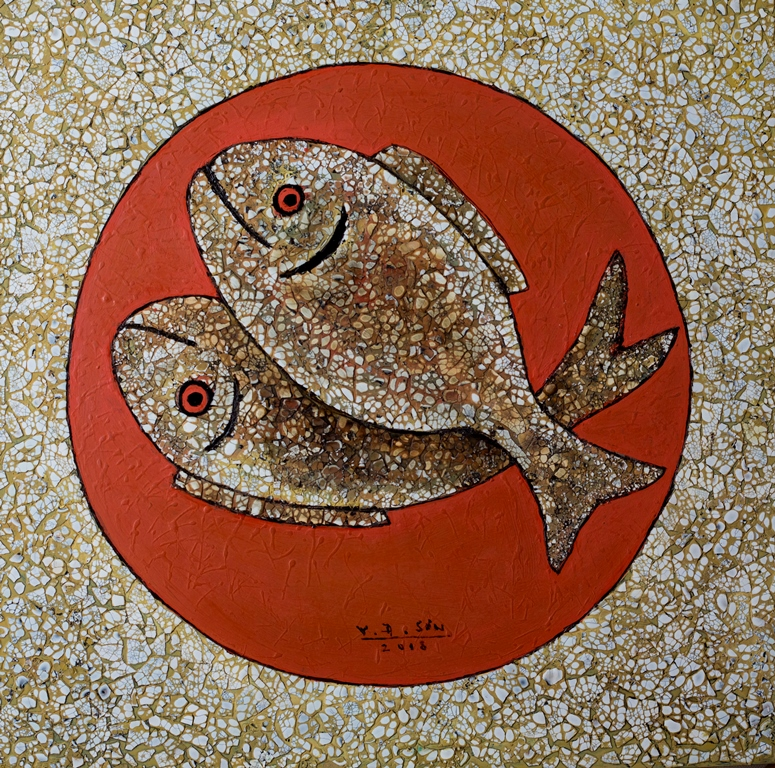 Vu Dinh Son, Two Fish, Lacquer on wood, 50x50cm, Date July2018