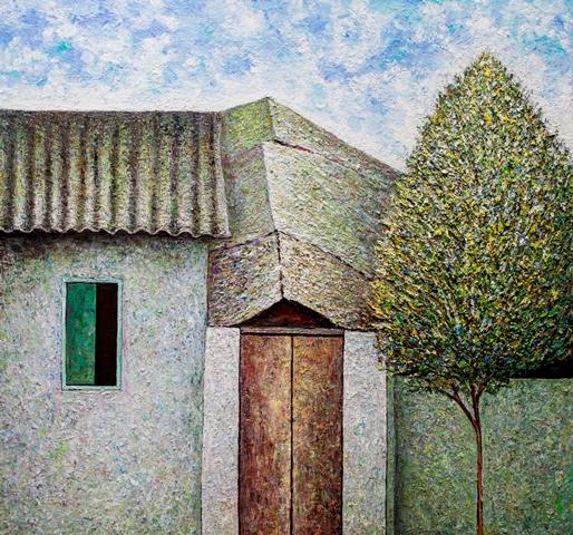 Vu Dinh Son, My house, Oil on canvas, 95x100cm, Date Sept2018
