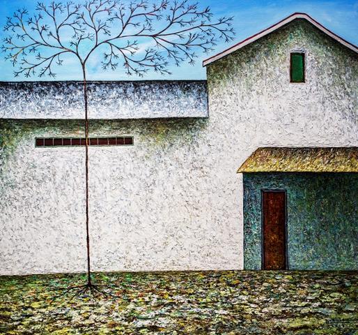 Vu Dinh Son, Quiet Houses, Oil on canvas, 95x100cm, Date Sept2018
