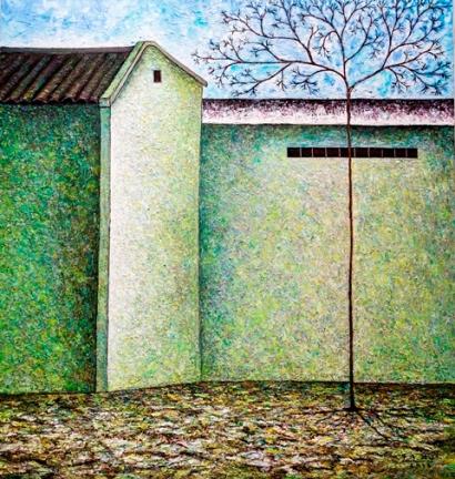 Vu Dinh Son, Quiet Streets, Oil on canvas, 95x100cm, Date Sept2018
