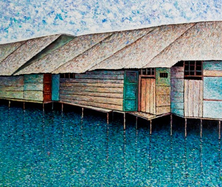 Vu Dinh Son, Houses by the river, Oil on canvas, 130x110 cm, Date Feb2019