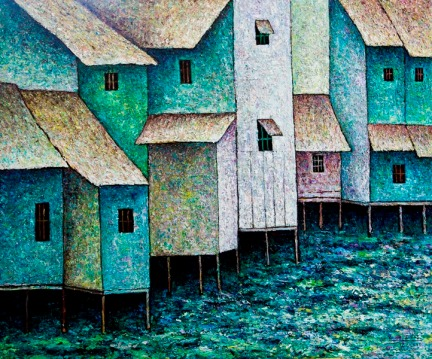 Vu Dinh Son, Houses by the River, Oil on canvas, 80x95cm, DateFeb2019