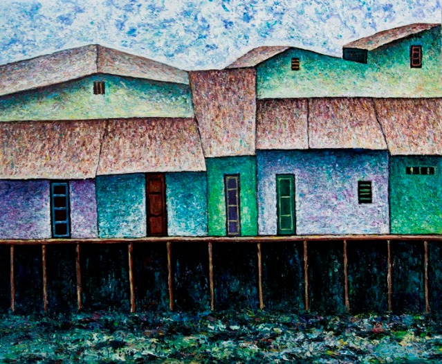 Vu Dinh Son, Houses by the Sagion River, Oil on canvas, 80x95cm, DateFeb2019
