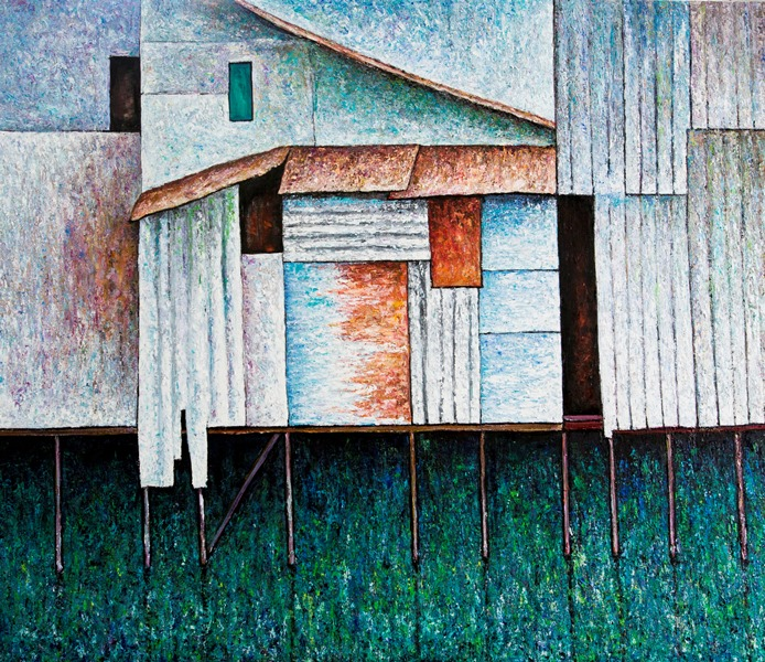 Vu Dinh Son, Houses by the Saigon river, Oil on canvas, 110x130 cm, DateFeb2019
