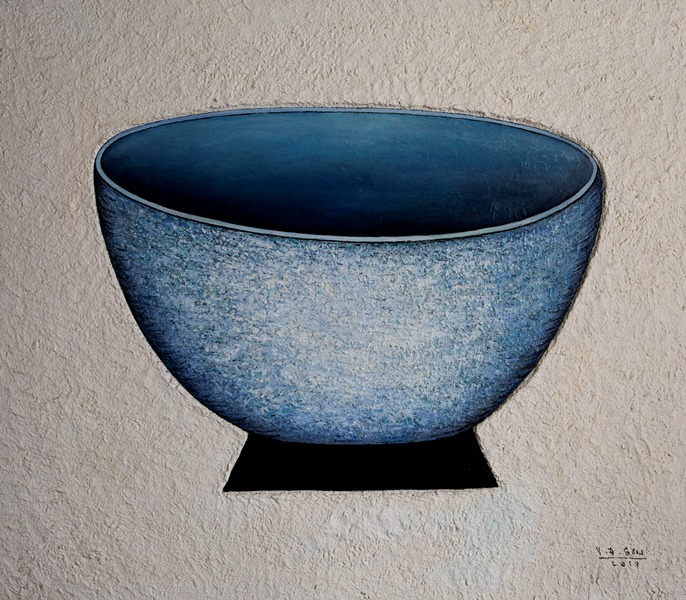 Vu Dinh Son, Blue Bowl, Oil on canvas, 70x80cm, Date June2019, Price US1,000