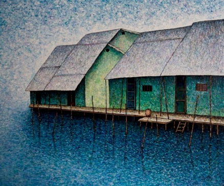 Vu Dinh Son, Floating Houses 1 by Saigon Riverside, Oil on canvas, 100x120cm, Date June2019, Price US 1,700