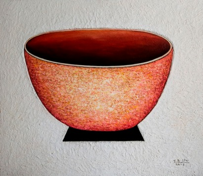 Vu Dinh Son, Red Bowl, Oil on canvas, 70x80cm, Date June2019, Price US1,000