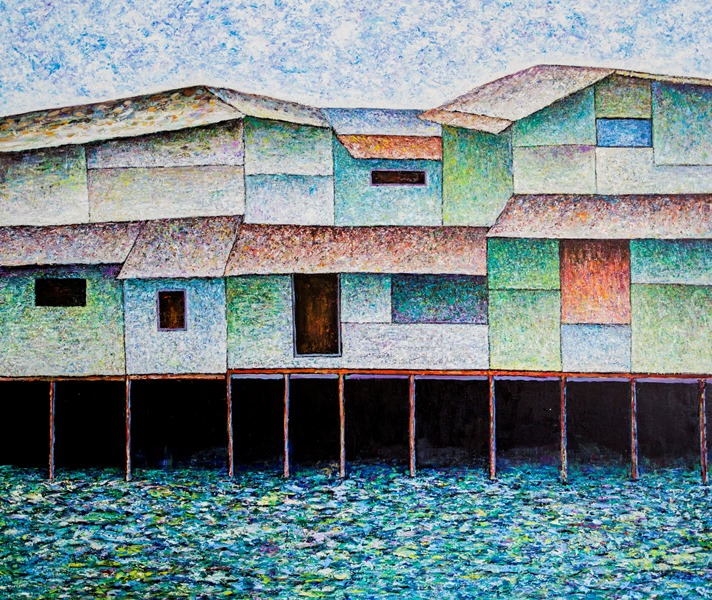 Vu Dinh Son, Saigon Foating Houses 1, Oil on canvas, 110x130cm, DateJuly2019