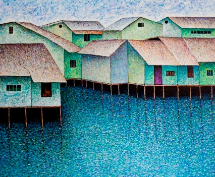 Vu Dinh Son, Saigon Foating Houses 2, Oil on canvas, 110x130cm, DateJuly2019