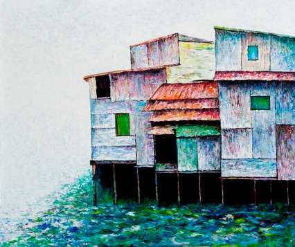 Vu Dinh Son, Saigon Foating Houses 3, Oil on canvas, 110x130cm, DateJuly2019