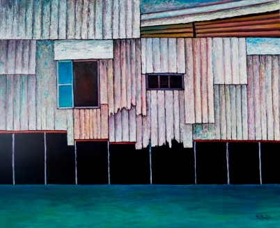 Vu Dinh Son, Floating Houses by Saigon riverside, Oil on canvas, 90x110cm, DateSept2019