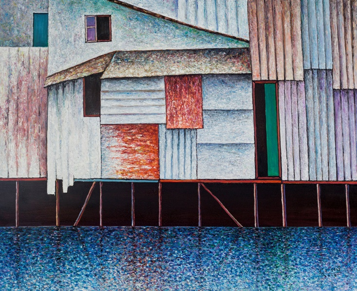 Vu Dinh Son, Saigon Floating Houses, Oil on canvas, 90x110cm, Date Sept2019