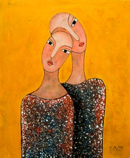 Vu Dinh Son, COUPLE, Lacquer on wood, 50cm x 60cm, Date Oct2019, Price US 800