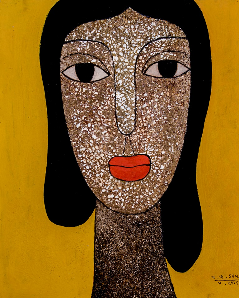 Vu Dinh Son, PORTRAIT, lacquer on wood, 50x60cm, Date Oct2019, Price US 800
