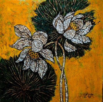 Vu Dinh Son, WHITE LOTUS, lacquer on wood, 50x50cm, Date Oct2019, Price US 700