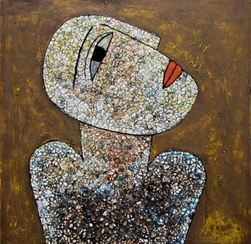 Vu Dinh Son, WHITE PORTRAIT, Lacquer on wood, 50cm x 50cm, Date Oct2019, Price US 700